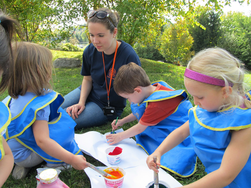 Photo: children painting outdoors with a teacher